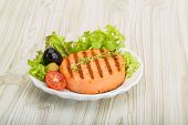 stock photo of crab-cakes  - Grilled Fish cakes in the bowl with salad leaves