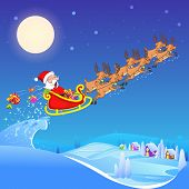 picture of sleigh ride  - vector illustration of Santa Claus riding sleigh pulled by reindeer - JPG