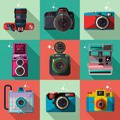 stock photo of polaroid  - Vector 3D Flat Retro Cameras - JPG