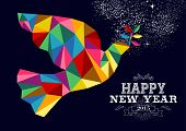 stock photo of peace  - Happy new year 2015 greeting card or poster design with colorful triangle peace dove and vintage label illustration - JPG