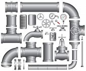 stock photo of valves  - Vector Collection of detailed Construction Pieces - JPG
