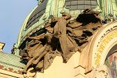 stock photo of municipal  - Sculptural composition on a municipal building in the city of Prague - JPG