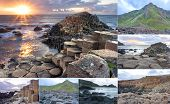 stock photo of ireland  - Collage of different pictures of Giants causeway in Northern Ireland - JPG