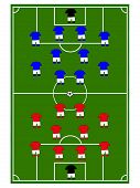 stock photo of offside  - Football field with players in teams formations - JPG