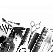 stock photo of bobbies  - The Professional hairdresser tools isolated on white - JPG