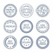 image of high-quality  - Vector set of premium labels and badges in line style  - JPG