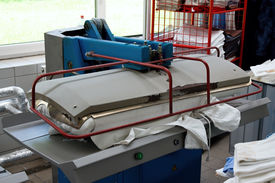 image of washing-machine  - Big automatic drying and ironing rolling press - JPG