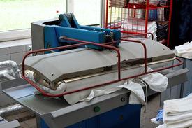 image of washing machine  - Big automatic drying and ironing rolling press - JPG