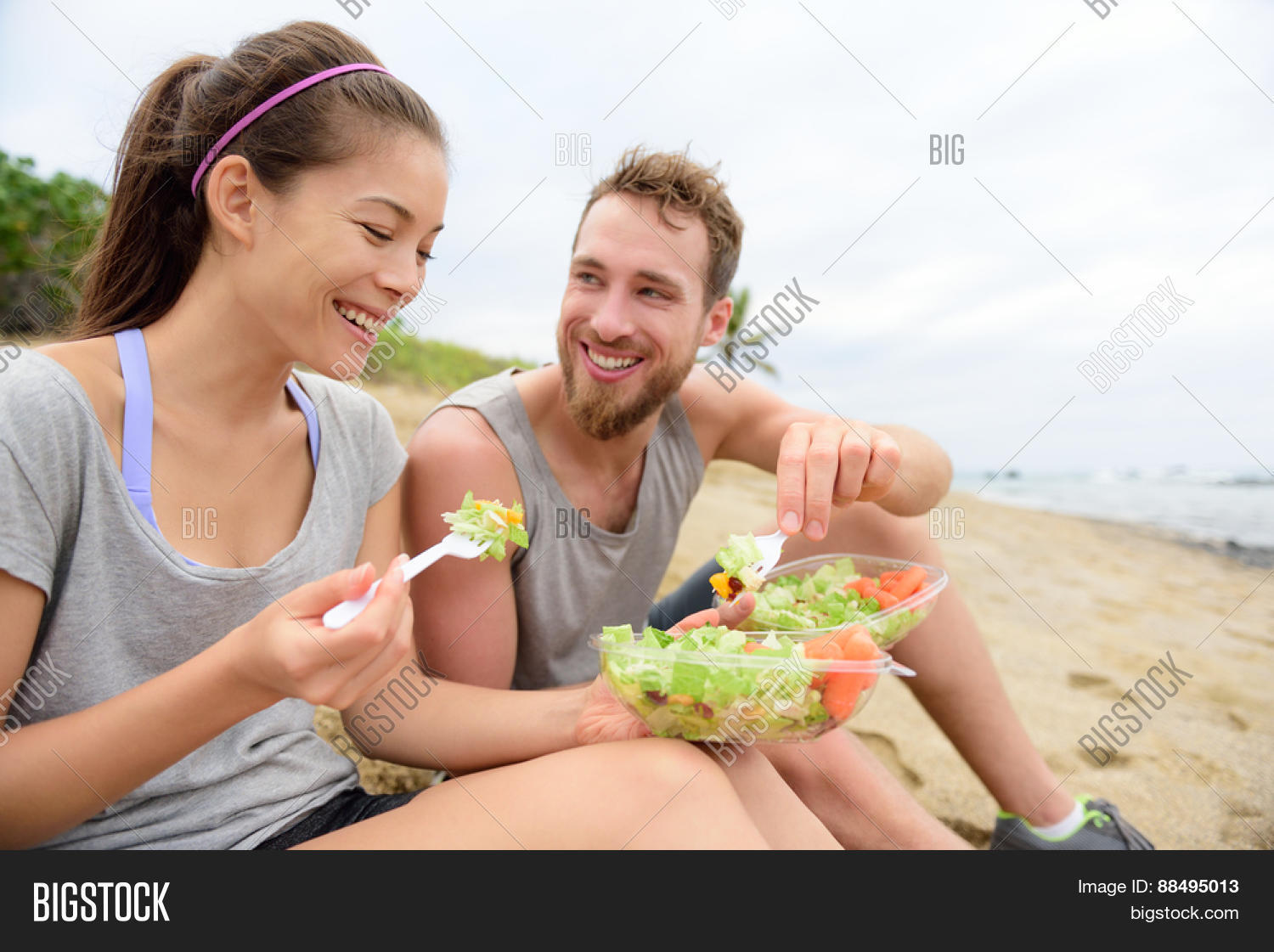 Happy Young People Eating Healthy Image & Photo | Bigstock