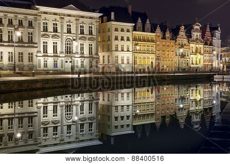 Quay Korenlei in Ghent town at night, Belgium