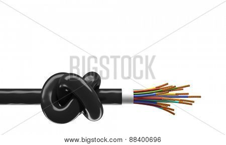 3d image of cable with huge knot