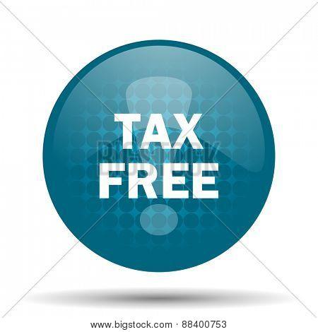 tax free blue glossy web icon
