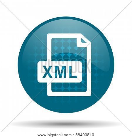 xml file blue glossy web icon