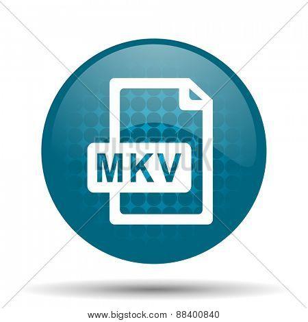 mkv file blue glossy web icon