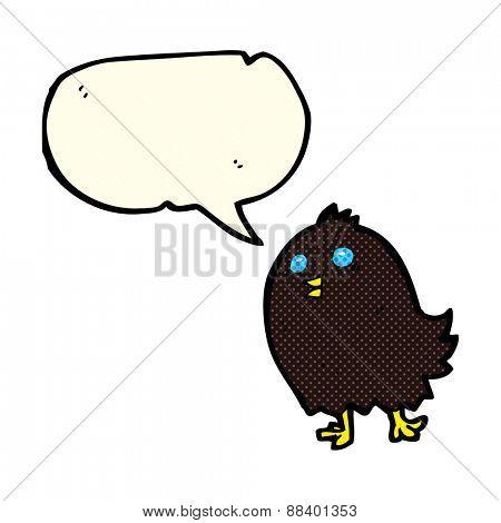 cartoon spooky black bird with speech bubble