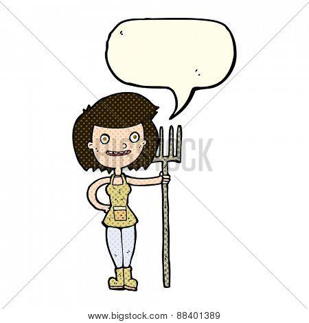 cartoon happy farmer girl with speech bubble