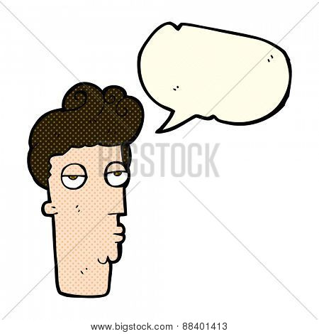 cartoon bored man's face with speech bubble