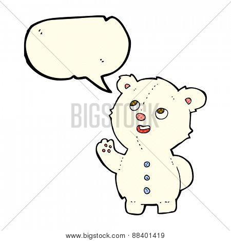 cartoon cute polar bear cub with speech bubble