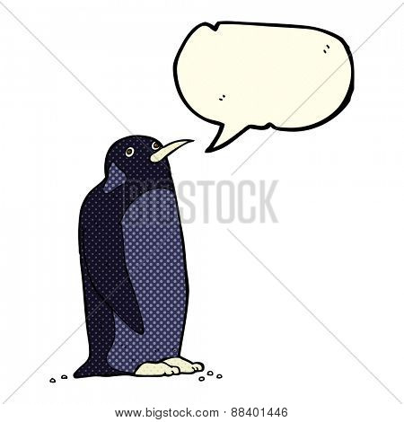 cartoon penguin with speech bubble