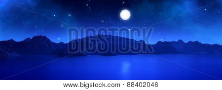 3D widescreen render of a surreal landscape with moon at night