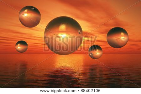 3D render of a surreal landscape with glass spheres hovering over a sunset sea