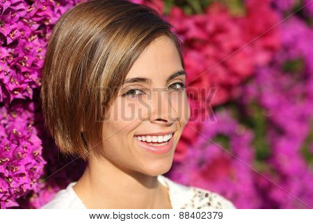 Beauty Woman Face Portrait With A Perfect Smile And White Teeth