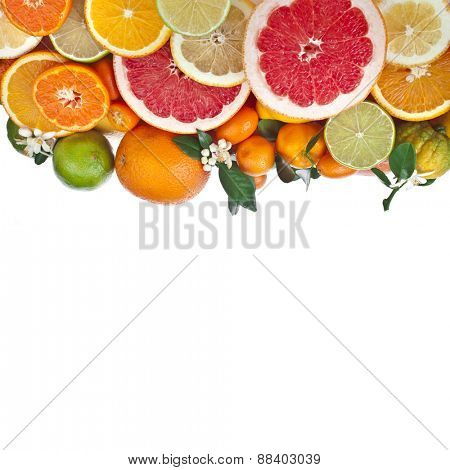 Ripe citrus fruits of lemon, orange, grapefruit, lime,  kumquat, isolated on white background