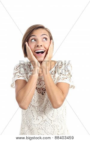 Happy Shocked Woman Looking At Side With Hands On Face