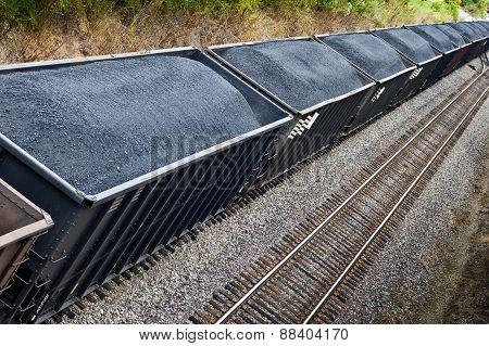 Coal Train On Tracks