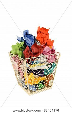 Wastebasket Full Of Trash Isolated On White
