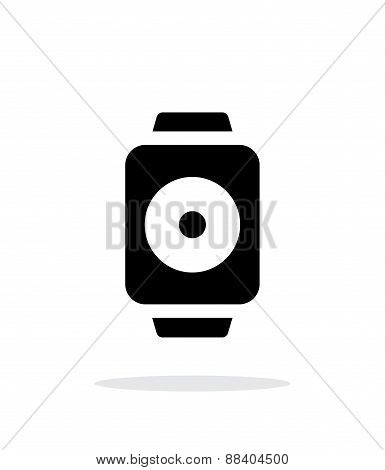 Remote controller on smart watch simple icon on white background.