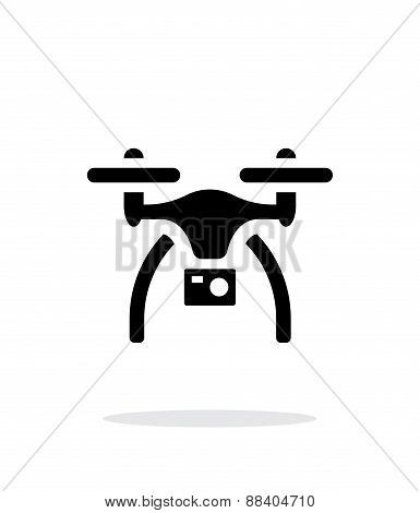 Drone with camera simple icon on white background.