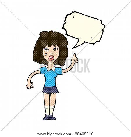 cartoon tough woman with idea with speech bubble