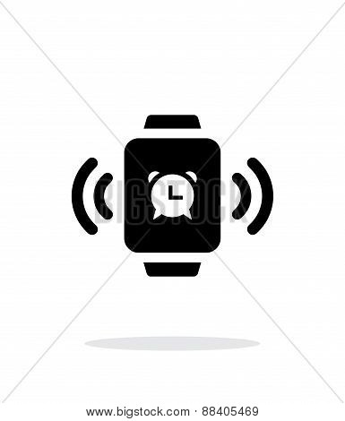 Alarm clock in smart watch simple icon on white background.