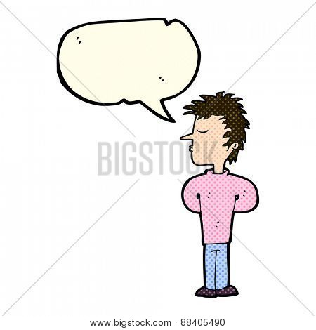 cartoon man ignoring with speech bubble