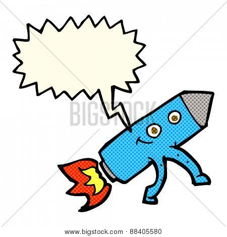 cartoon happy rocket with speech bubble