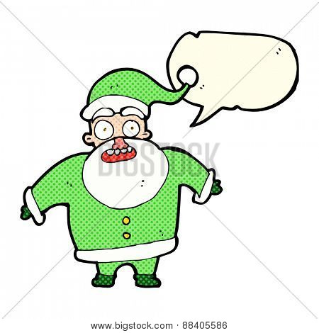 cartoon shocked santa claus with speech bubble