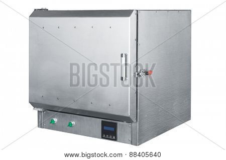 steel vacuum furnace on a white background