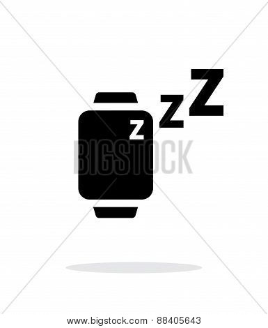 Sleep mode in smart watches simple icon on white background.