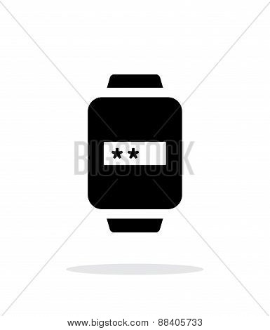 Password in smart watch simple icon on white background.