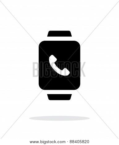 Smart watch call with handset simple icon on white background.