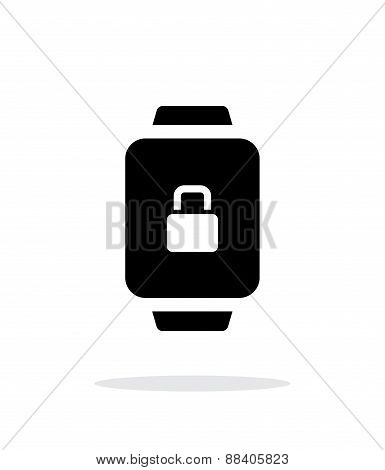 Smart watch lock protection simple icon on white background.