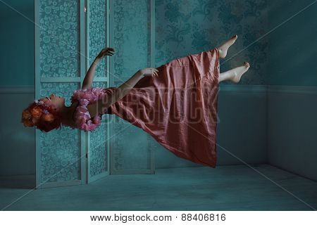Girl Floating In The Room.