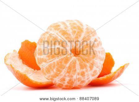Peeled tangerine or mandarin fruit isolated on white background cutout