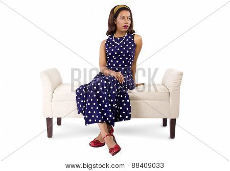 Woman in Polka Dot Dress Looking Bored