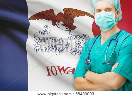 Surgeon With Us State Flag On Background Series - Iowa