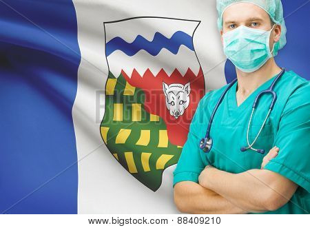 Surgeon With Canadian Privinces Flag On Background Series - Northwest Territories