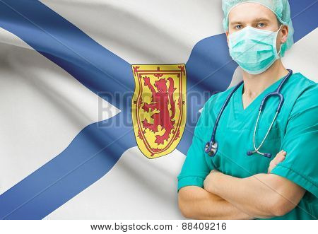 Surgeon With Canadian Privinces Flag On Background Series - Nova Scotia