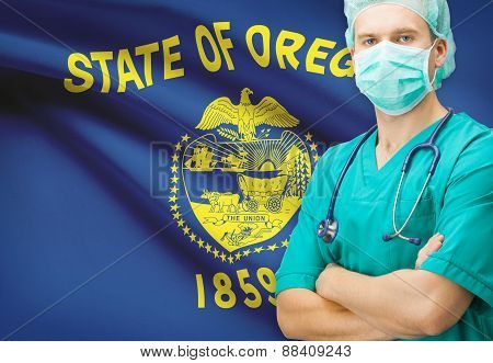 Surgeon With Us State Flag On Background Series - Oregon