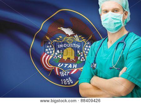 Surgeon With Us State Flag On Background Series - Utah